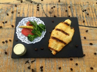 Basa Fillet in charcoal grill with spice butter sauce and vegetables (NV)