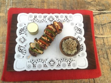 Charcoal grilled panner with mustard honey sauce with roasted garlic rice (v)