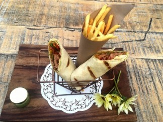 Kema mutton roll and pickles with mint sauce