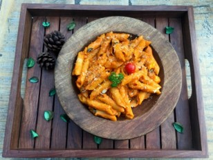 Penne panner tomato hara dhania with vegetables (v)