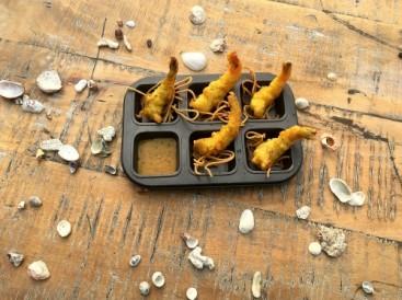 Popular in spanish Prawns Orly with mustard honey sauce (NV)